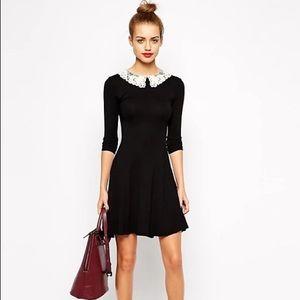 ASOS | New Look Crochet Collar Skater Dress